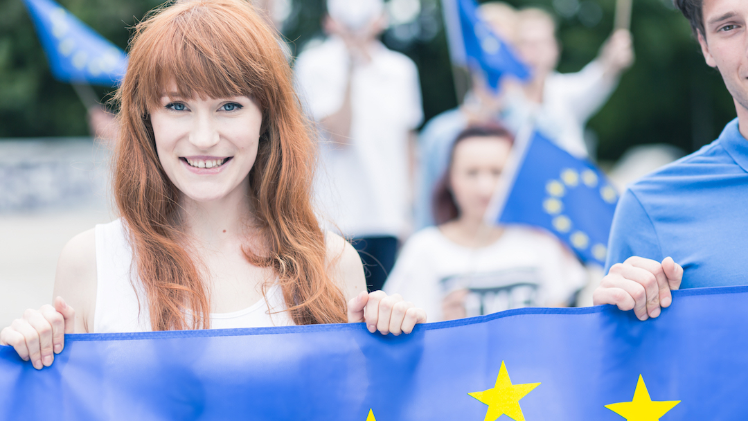 Woman with European Union flag